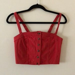 Red Button Down Crop Top Tank